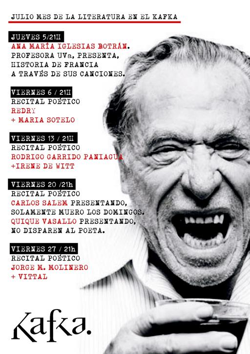 Cartel del mes literario en el Kafka de Madrid. La poesía mancha