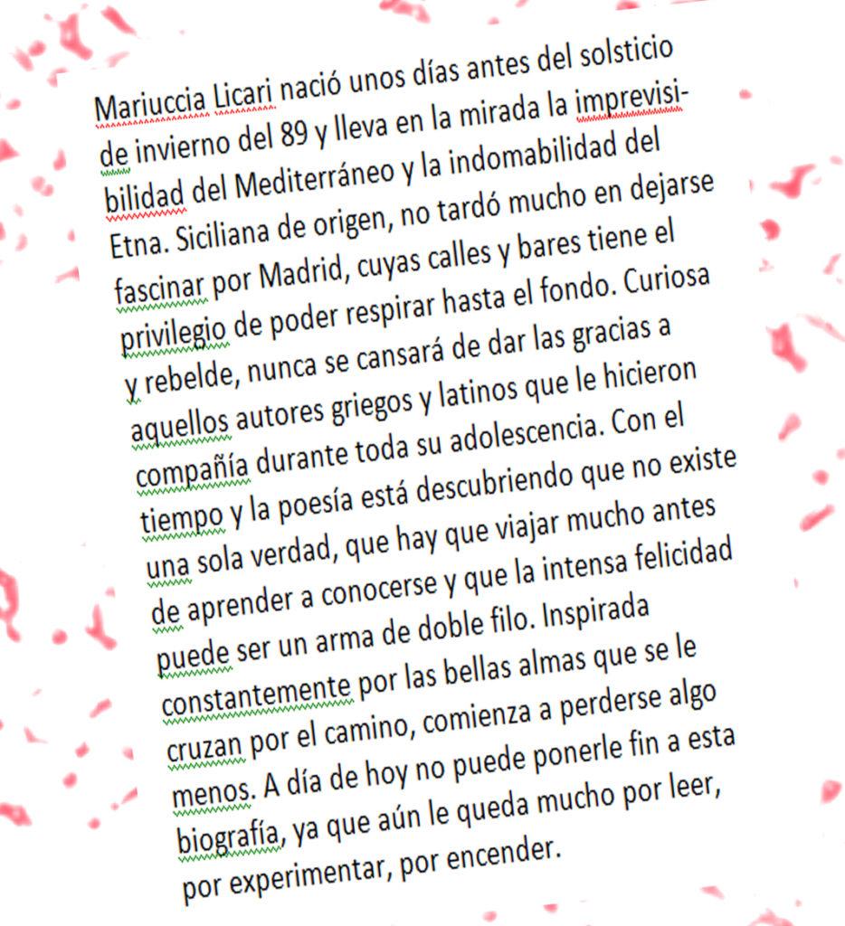 Biografía de Mariuccia Licari. La poesía Mancha