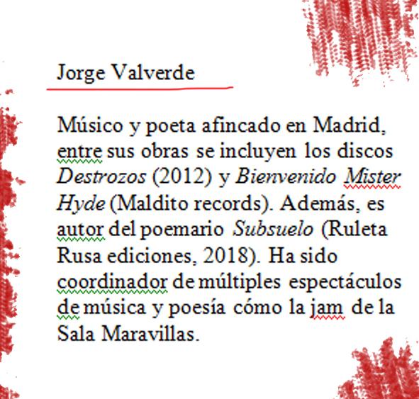 Biografía del poeta Jorge Valverde